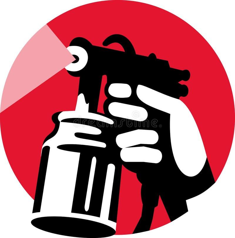 Arma de aerosol con la explotación agrícola de la mano ilustración del vector