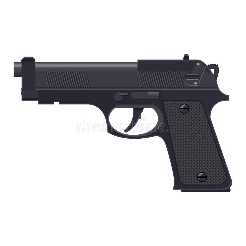 Arma de la pistola, arma de mano moderna automática stock de ilustración
