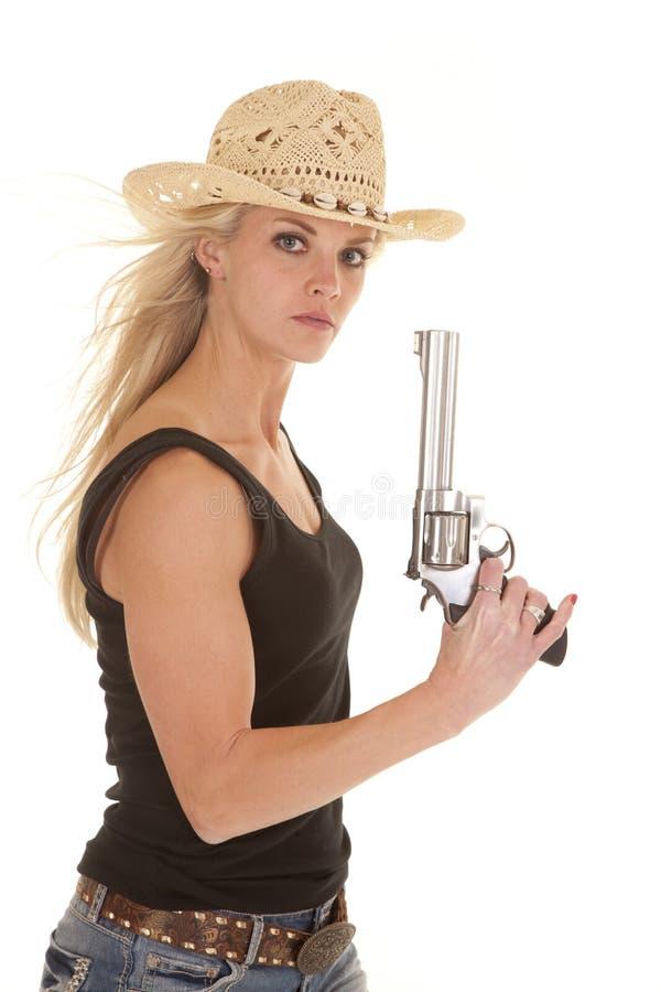 Arma de la tapa del tanque del Cowgirl para arriba que mira imagen de archivo