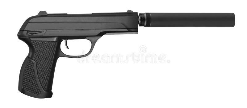 Arma de mano de la operación especial con el silenciador en blanco imagen de archivo libre de regalías