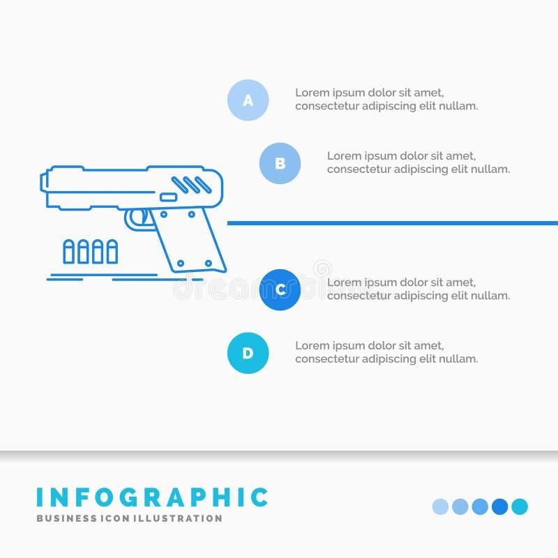 arma, arma de mano, pistola, pistola, plantilla de Infographics del arma para la p?gina web y presentaci?n L?nea vector infograph libre illustration