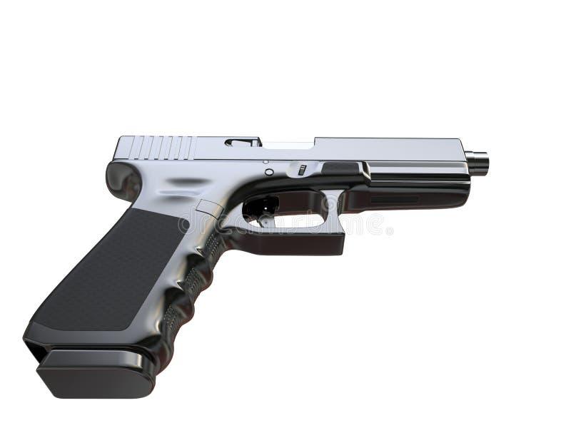 Arma de mano táctica moderna semiautomática - cromo negro - remate abajo de la visión libre illustration