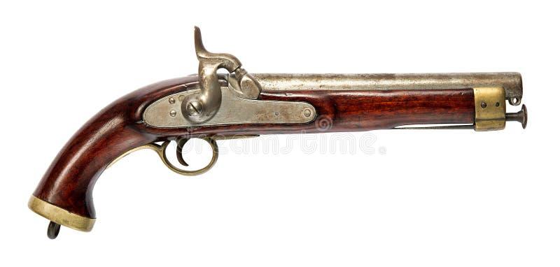 Arma del gato viejo con la manija de madera en blanco imagen de archivo libre de regalías