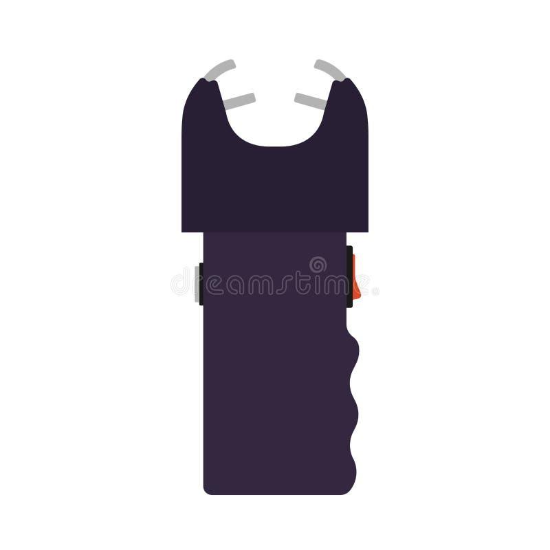 Arma del icono del vector de la ley de las Policías de Seguridad de Taser El arma de la historieta del electroshock de la mano at ilustración del vector