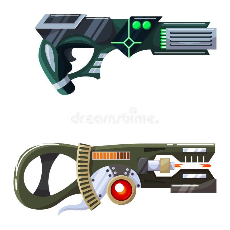 Arma del laser del arenador del arma del espacio de vector del arma con la arma de mano futurista y el raygun fantástico de extra stock de ilustración