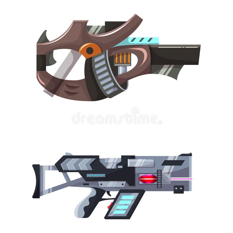 Arma del laser del arenador del arma del espacio de vector del arma con la arma de mano futurista y el raygun fantástico de extra ilustración del vector