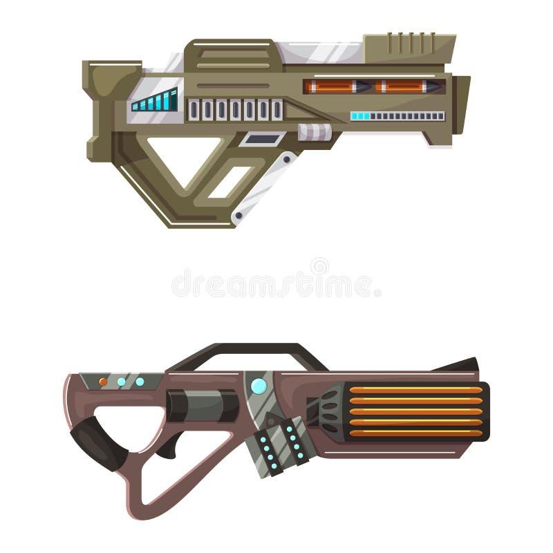 Arma del laser del arenador del arma del espacio de vector del arma con la arma de mano futurista y el raygun fantástico de extra libre illustration