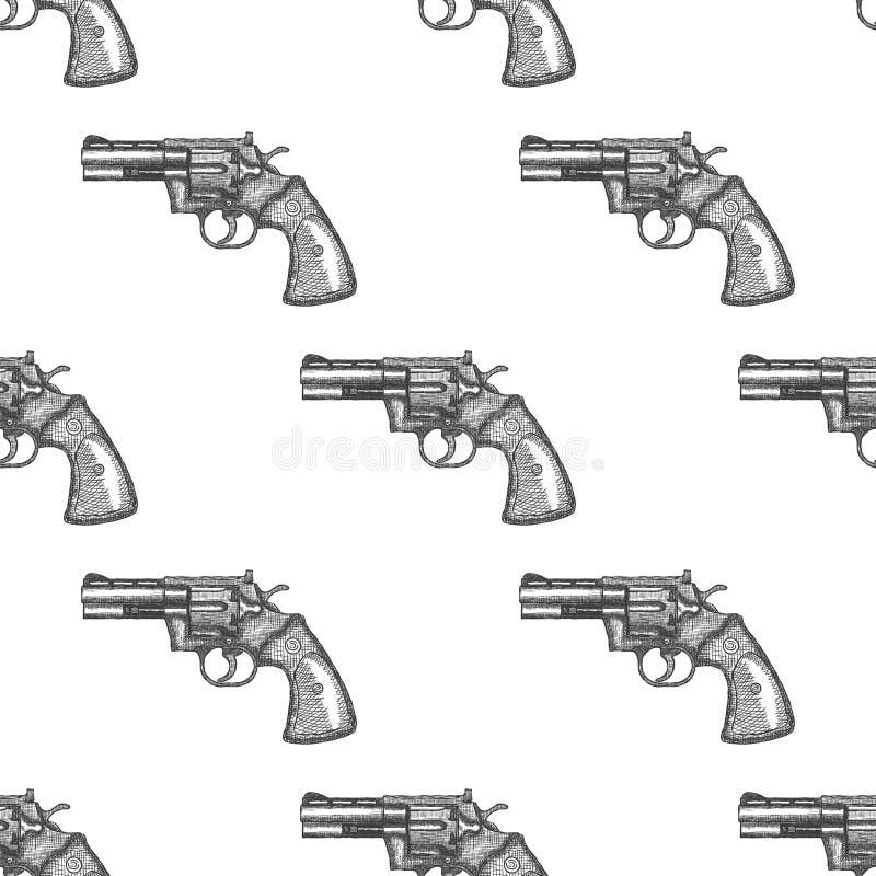 Arma Dibujado Mano Del Revólver Del Vintage Vector Inconsútil Del ...
