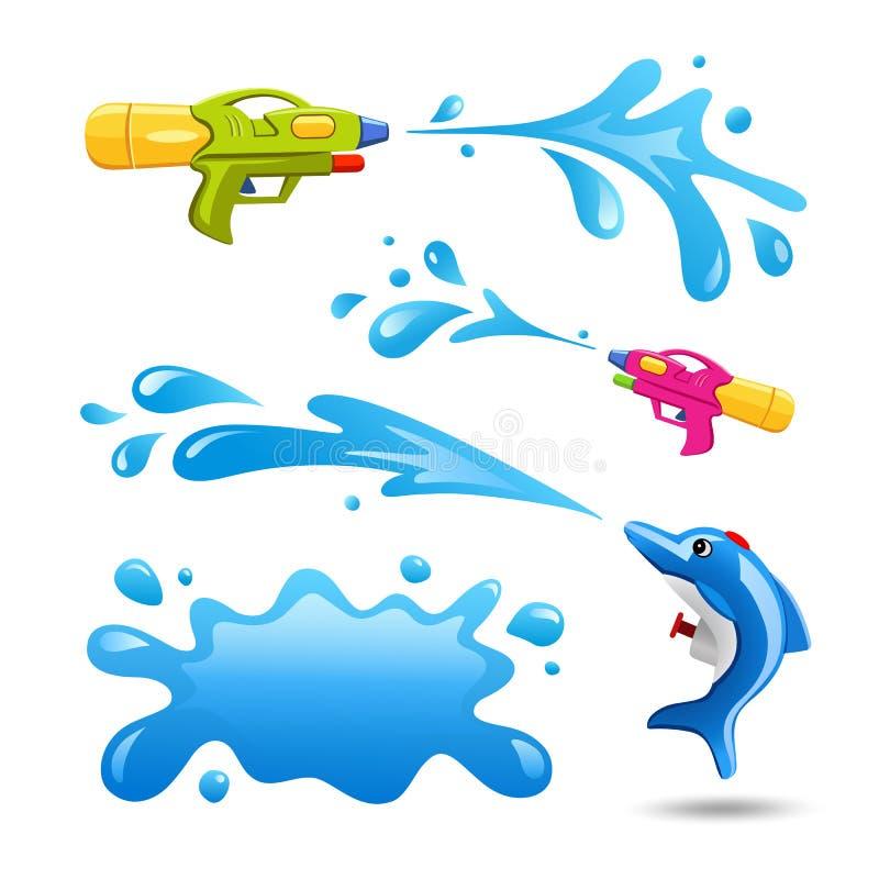 Arma do festival feliz de Songrkran coleções e da água coloridas do respingo ilustração do vetor