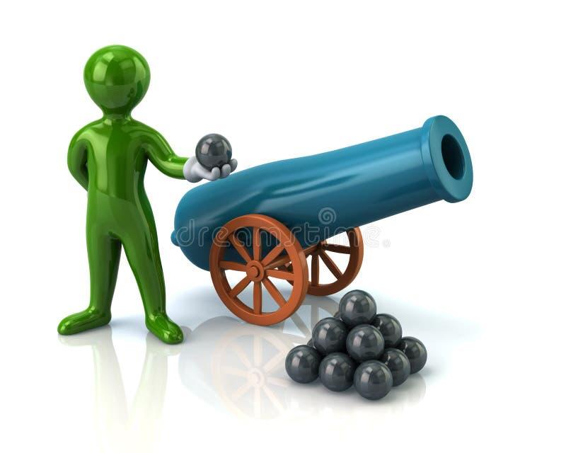 Arma do homem verde e da artilharia ilustração royalty free