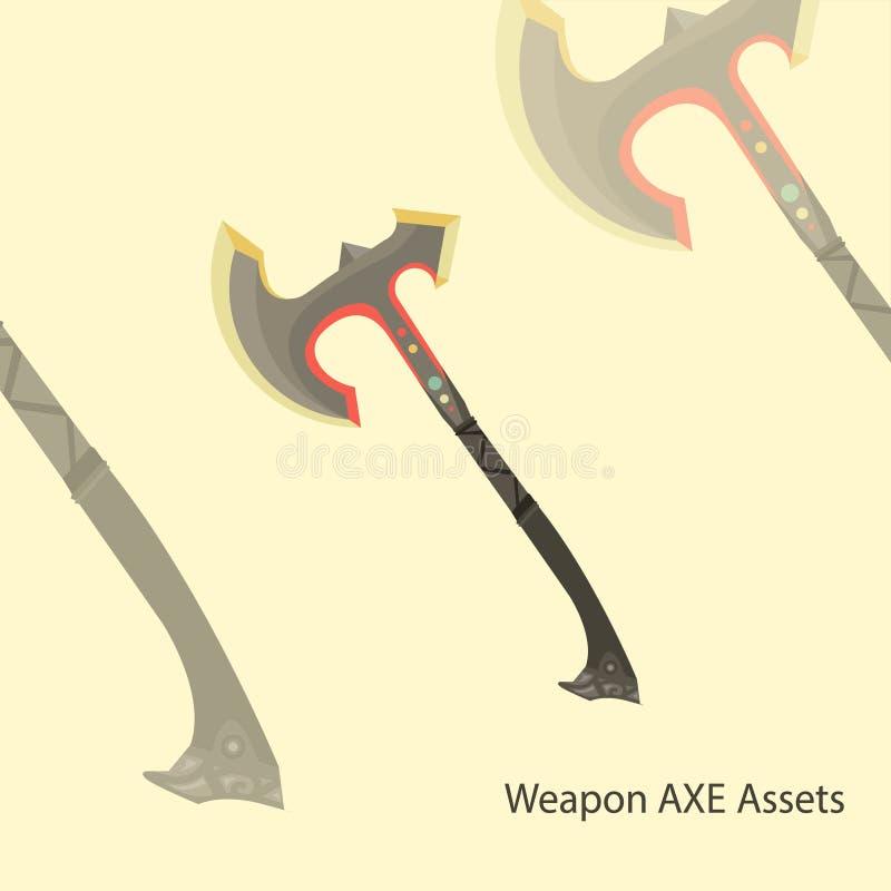 Arma do machado do vetor da ilustração 2D para ativos do jogo da aventura da ação, objeto do ornamento, Dia das Bruxas, etc. com  ilustração royalty free