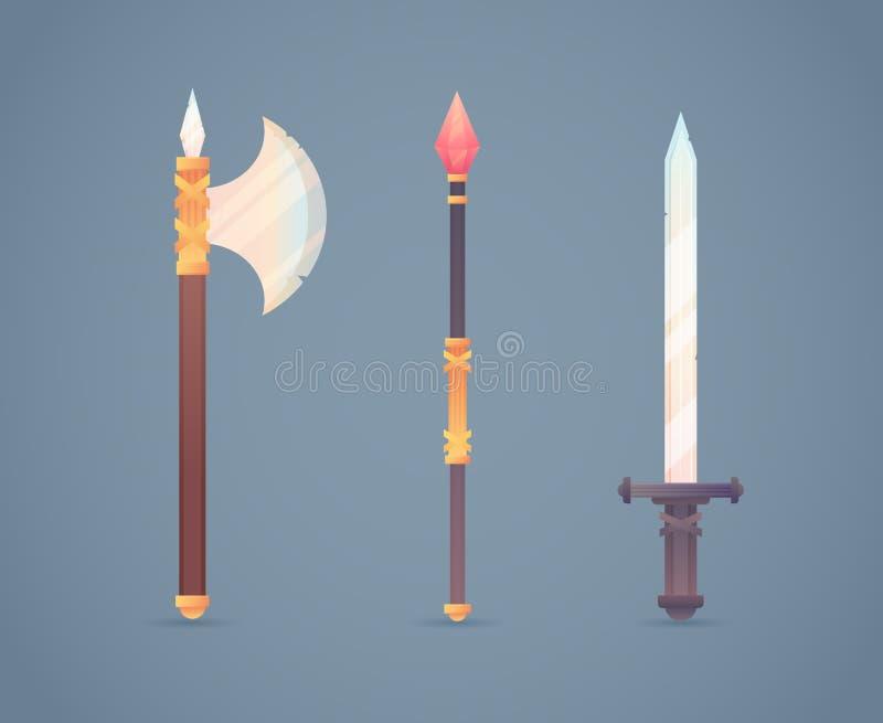 Arma fría medieval de la fantasía fijada en plano-estilo stock de ilustración