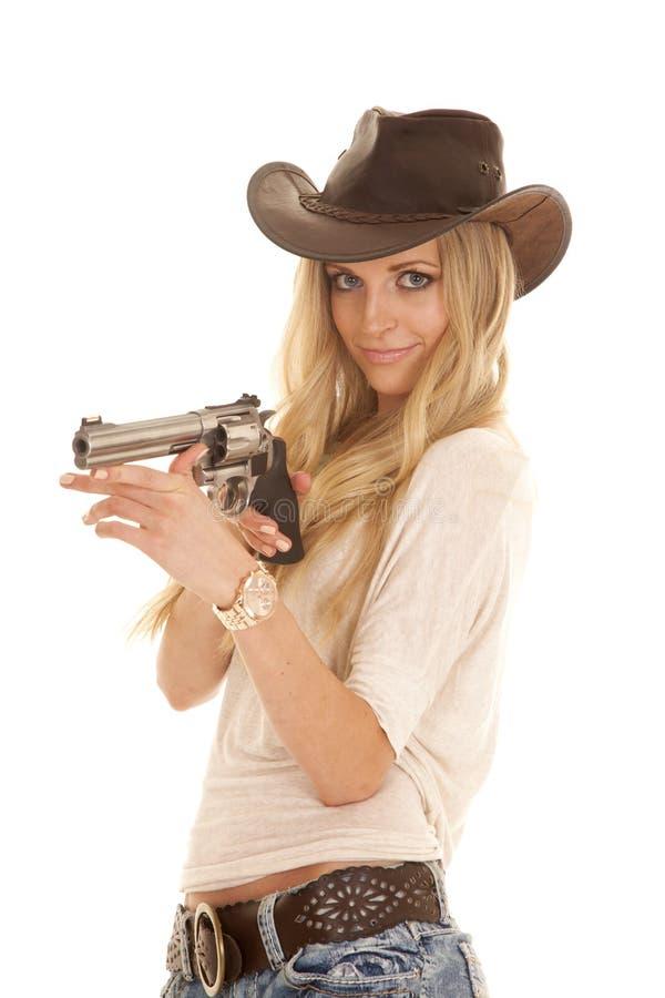 Arma ligero del sombrero de la camisa de la mujer que soporta la mirada fotografía de archivo