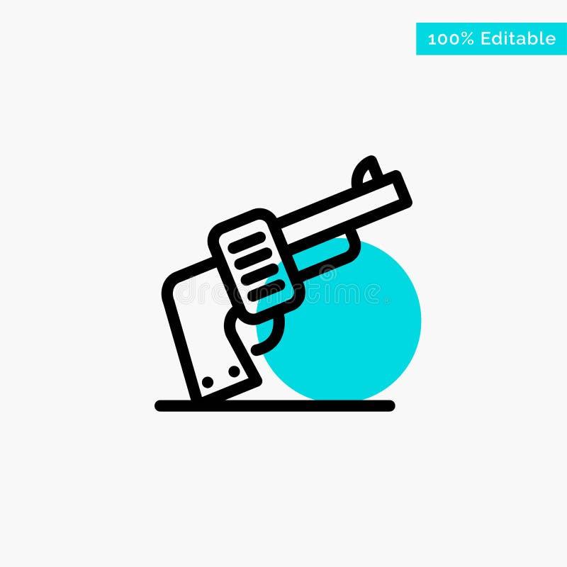 Arma, mano, arma, icono americano del vector del punto del círculo del punto culminante de la turquesa libre illustration