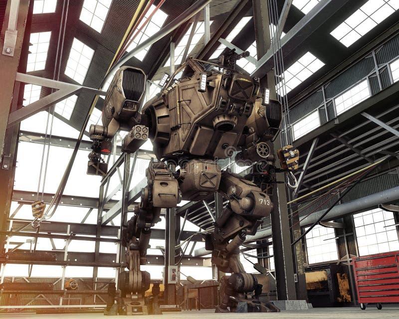 Arma Mech futuristica del robot con matrice completa delle pistole messe al sicuro in un capannone industriale illustrazione vettoriale
