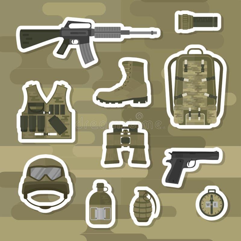 A arma militar atira em forças da armadura ilustração royalty free