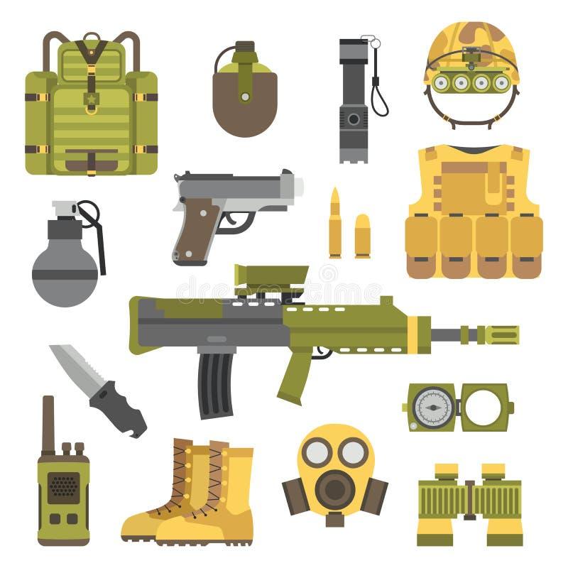 A arma militar atira na ilustração do vetor dos símbolos ilustração royalty free