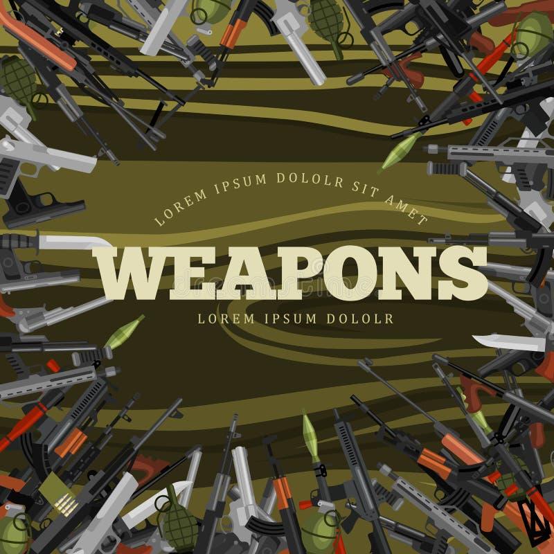 Arma militar do grupo, a automática e da mão da arma ilustração royalty free