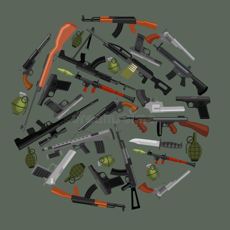 Arma militar do grupo, a automática e da mão da arma ilustração stock
