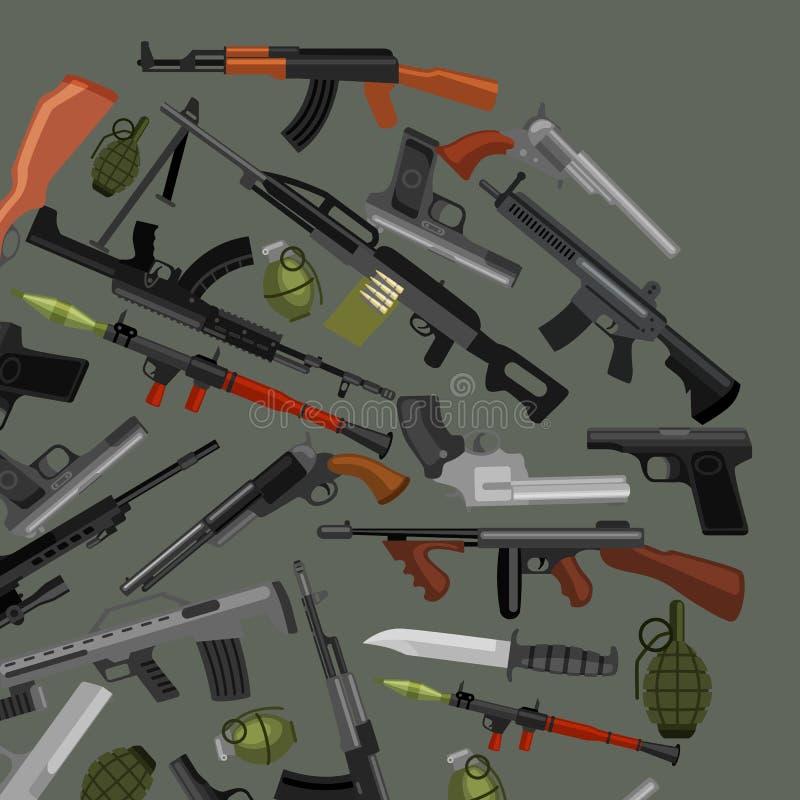 Arma militar do grupo, a automática e da mão da arma ilustração do vetor
