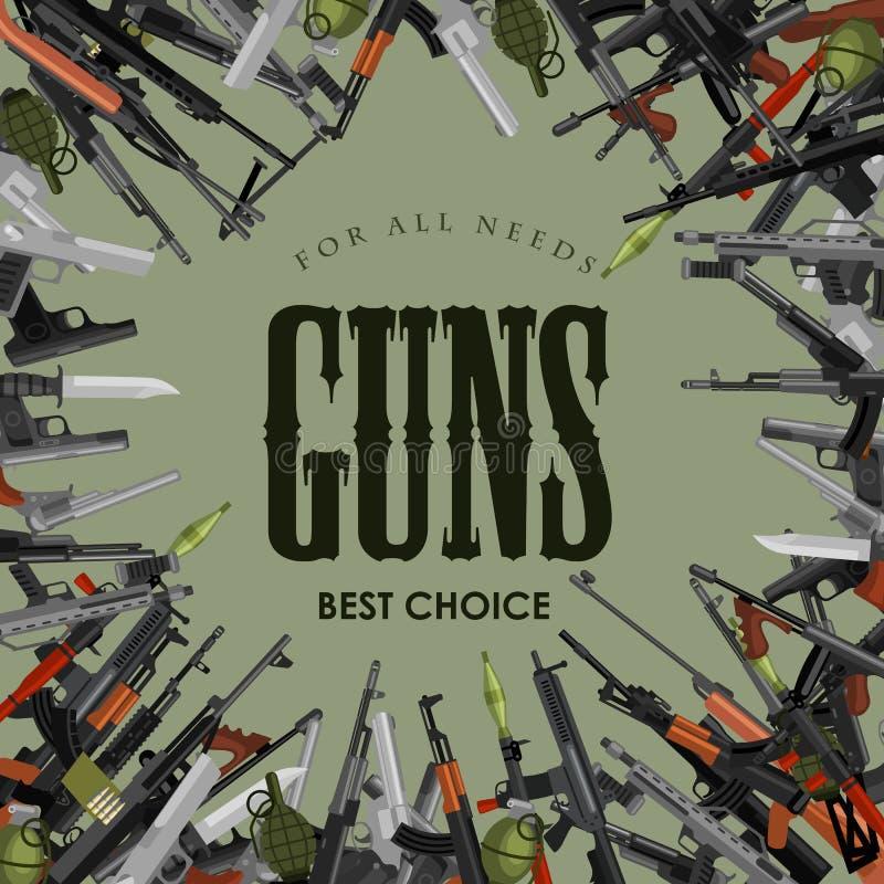 Arma militar do grupo, a automática e da mão da arma no tambor do compartimento com as balas para a coleção da proteção ou da gue ilustração do vetor