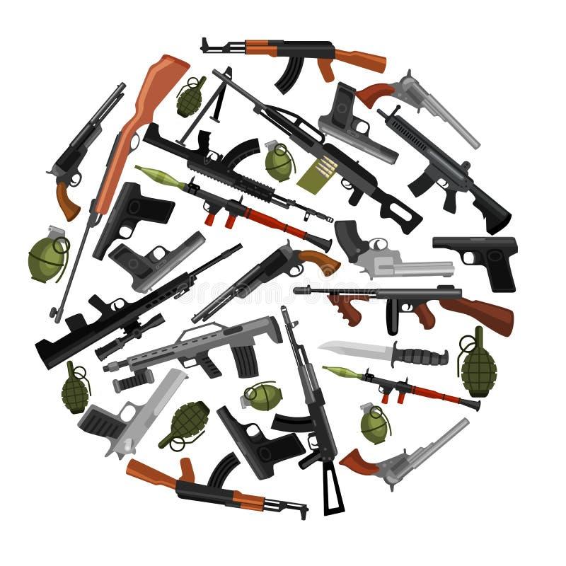 Arma militar do grupo, a automática e da mão da arma no tambor do compartimento com as balas para shoting da proteção ou coleção  ilustração royalty free