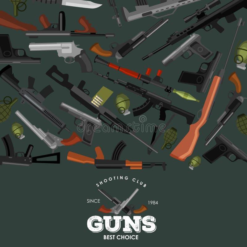 Arma militar do grupo, a automática e da mão da arma no tambor do compartimento com as balas para shoting da proteção ou coleção  ilustração stock