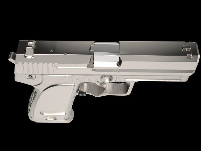 Arma moderna de prata da m?o com o aperto da m?o do cromo - parte superior abaixo da vista ilustração stock