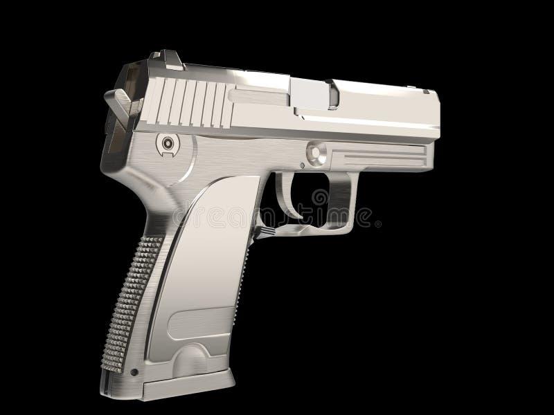 Arma moderna de prata da m?o com o aperto da m?o do cromo - vista lateral ilustração royalty free