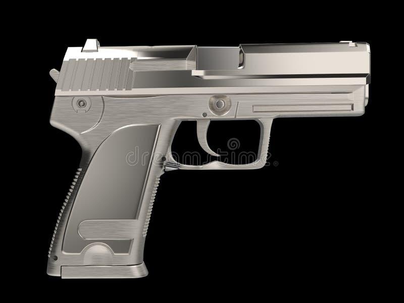 Arma moderna de prata da m?o - vista lateral ilustração royalty free