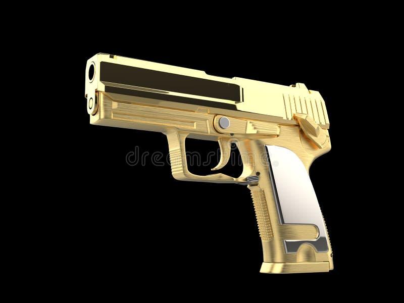 Arma moderna dourada brilhante da m?o com o aperto de prata da m?o ilustração do vetor