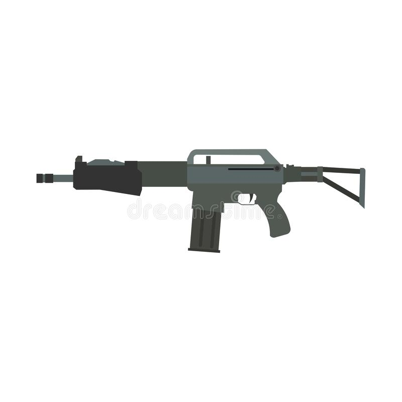 Arma preta isolada ilustração do ícone do vetor da arma do rifle Arte de caça automática da silhueta do disparador da arma de fog ilustração do vetor