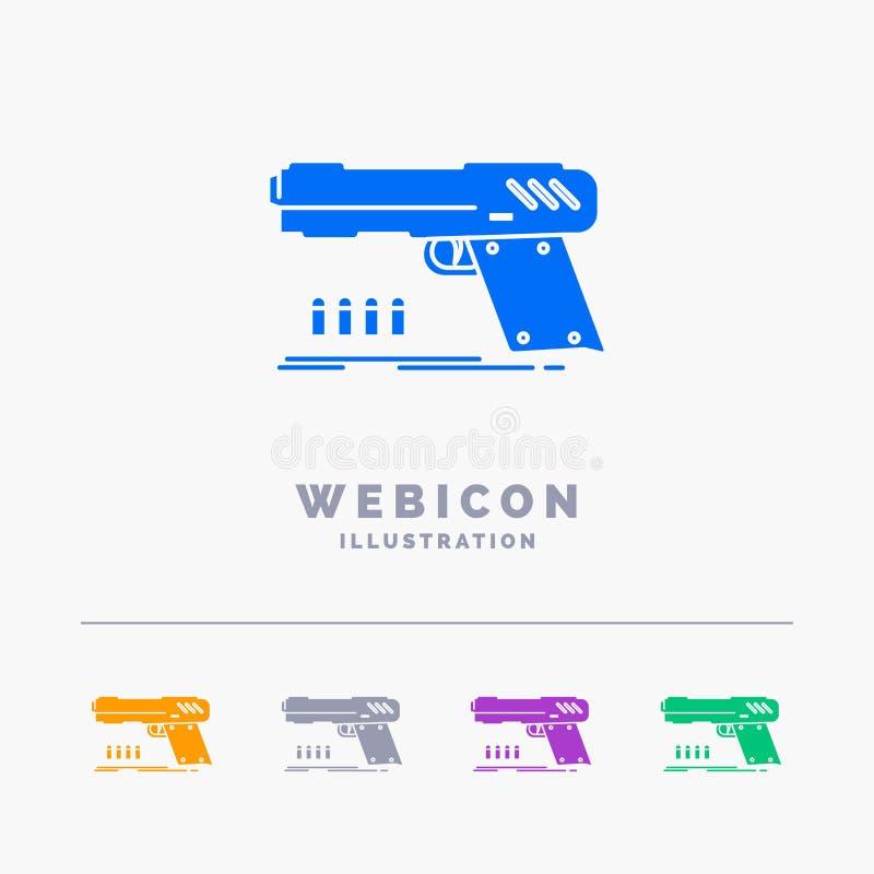 arma, revólver, pistola, atirador, molde do ícone da Web do Glyph da cor da arma 5 isolado no branco Ilustra??o do vetor imagens de stock