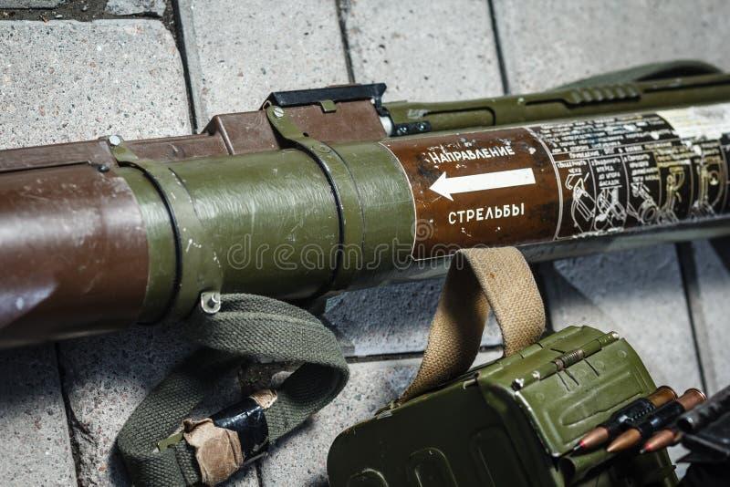 Arma rusa soviética: Detalle RPG-18 fotografía de archivo