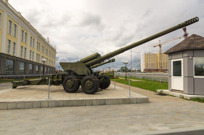 Arma soviética do combate, uma exibição do museu militar-histórico, Ekaterinburg, Rússia, imagem de stock