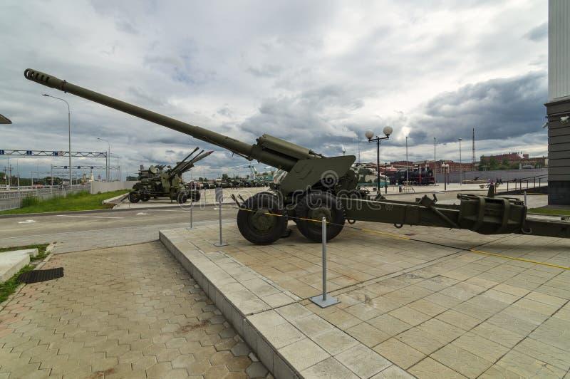 Arma soviética do combate, uma exibição do museu militar-histórico, Ekaterinburg, Rússia, imagens de stock
