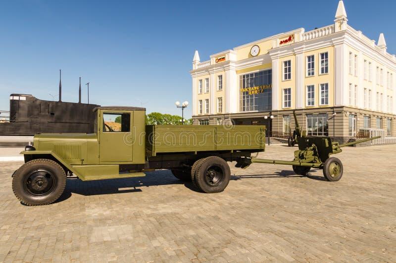 Arma soviético del combate, un objeto expuesto del museo militar-histórico, Ekaterinburg, Rusia, imagenes de archivo