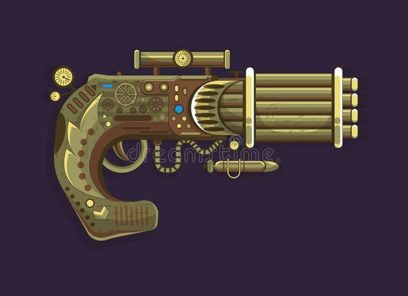 Arma viejo del diseño de concepto del vector del revólver de Steampunk ilustración del vector