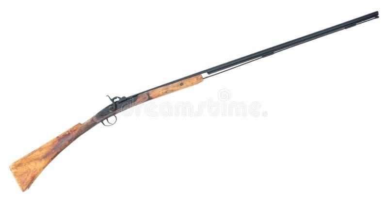 Arma viejo del rifle aislado en el fondo blanco Arma largo viejo aislado imagen de archivo libre de regalías