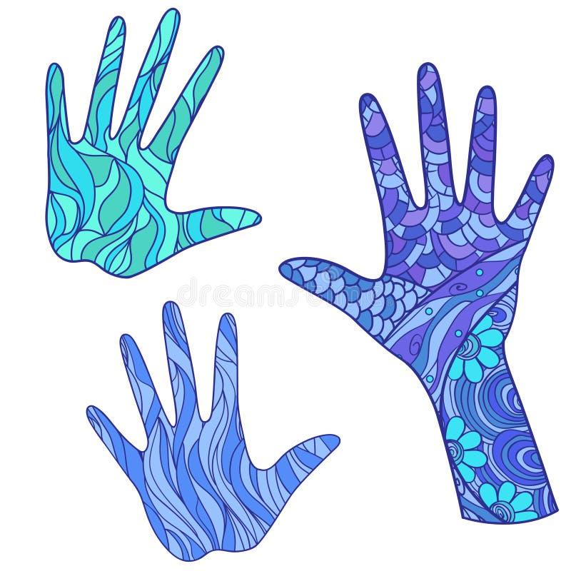 armada ręce Doodles z abstrakcjonistycznymi wzorami na odosobnienia tle projekt dla duchowego relaksu dla dorosłych Przedmioty dl ilustracji