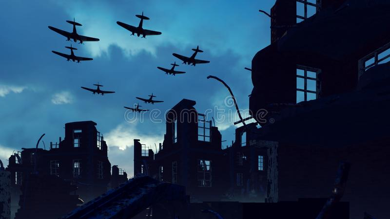 Armada wojskowego samolotu leci nad ruinami opuszczonego miasta Renderowanie 3W ilustracji