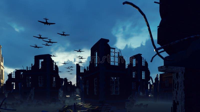 Armada wojskowego samolotu leci nad ruinami opuszczonego miasta Renderowanie 3W ilustracja wektor