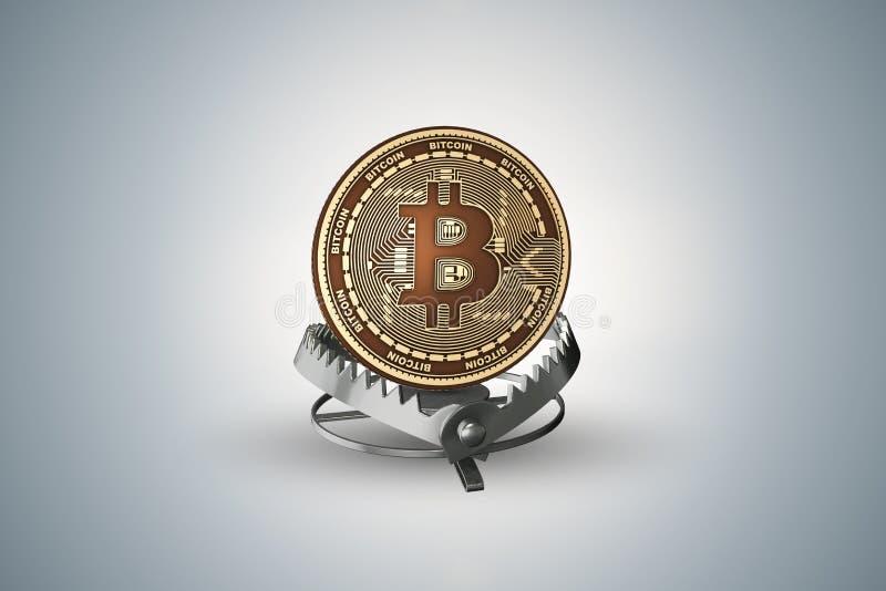 A armadilha com bitcoin nos perigos do conceito dos cryptocurrencies - rendição 3d imagens de stock royalty free
