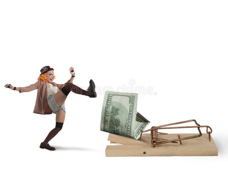 Armadilha do dinheiro do palhaço imagem de stock royalty free