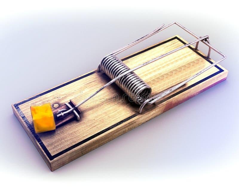 Armadilha do rato atraída com uma parte de queijo cheddar 3d rendem fotos de stock