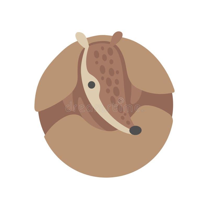 Armadillo lindo encrespado para arriba, ejemplo animal Pleistoceno adorable del vector del personaje de dibujos animados libre illustration