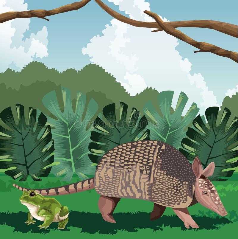 Armadillo och grodbladens tropiska fauna och flora royaltyfri illustrationer