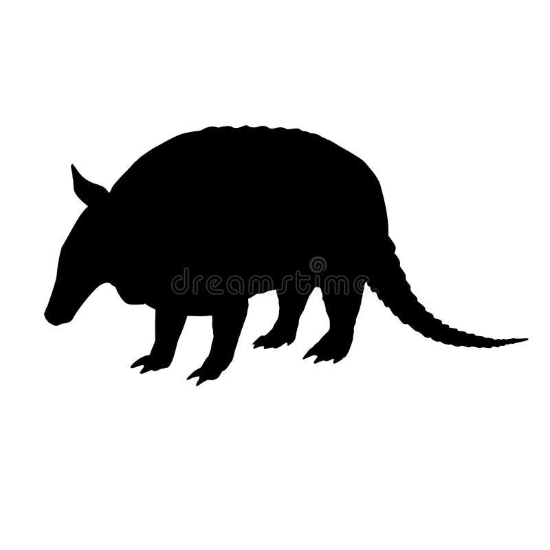 Armadillo silhouette. Black white icon. Vector illustration. royalty free illustration