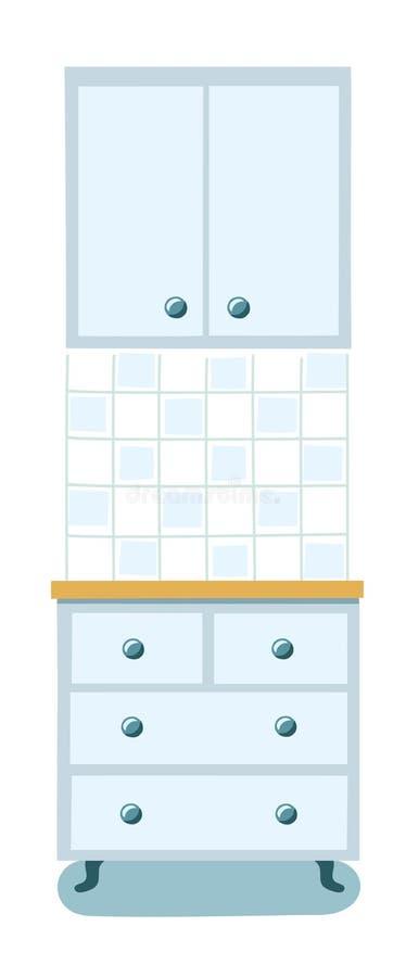 Armadio da cucina con i cassetti illustrazione di stock