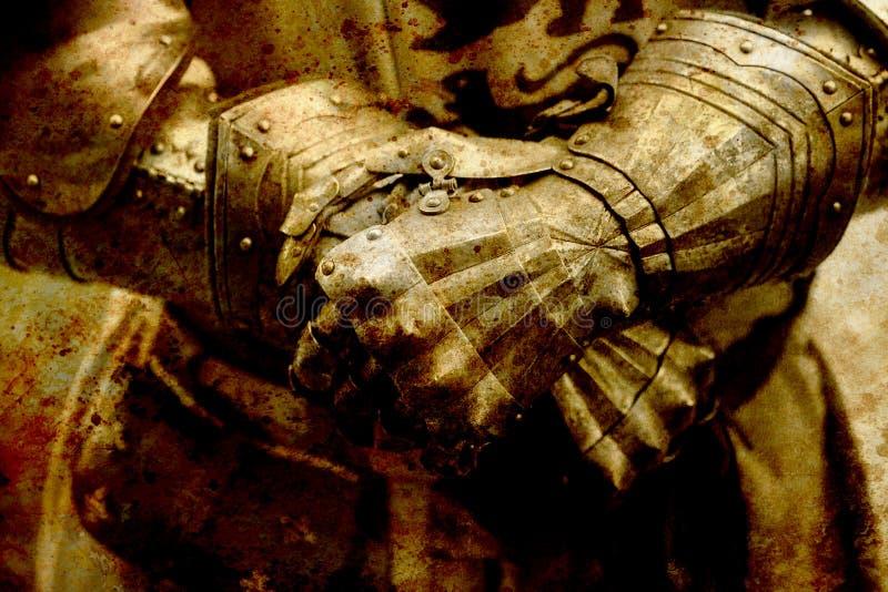 Armadura del caballero del detalle Guantes de un caballero Efecto de la sepia fotos de archivo